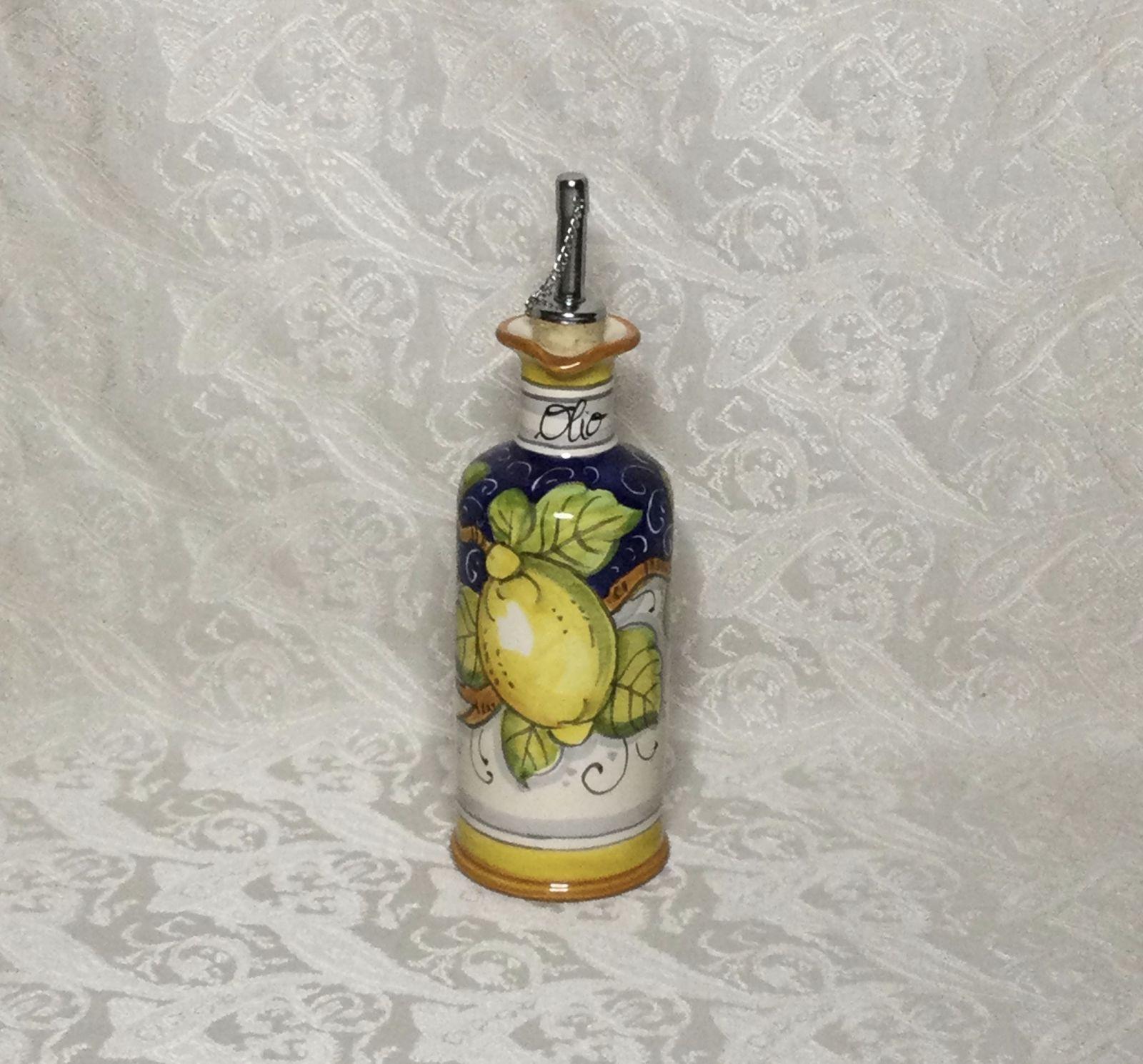 Ampolla con manico h22  con limoni fondo blu&bianco