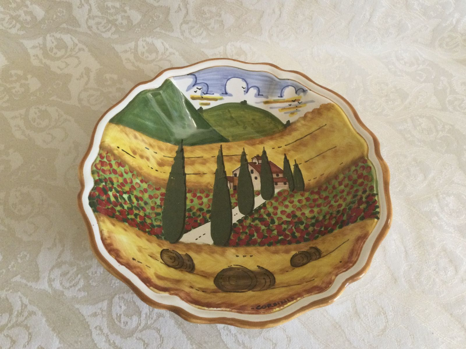 Soup plate cm 22x5 with tuscan landscape with road