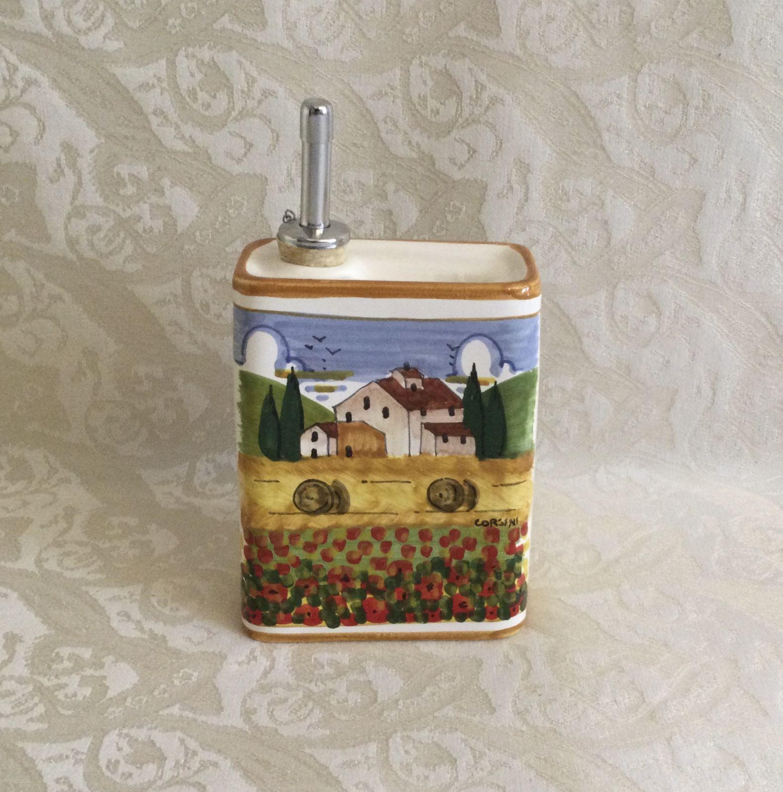 Ampolla olio h13x10x5 con paesaggio toscano con papaveri