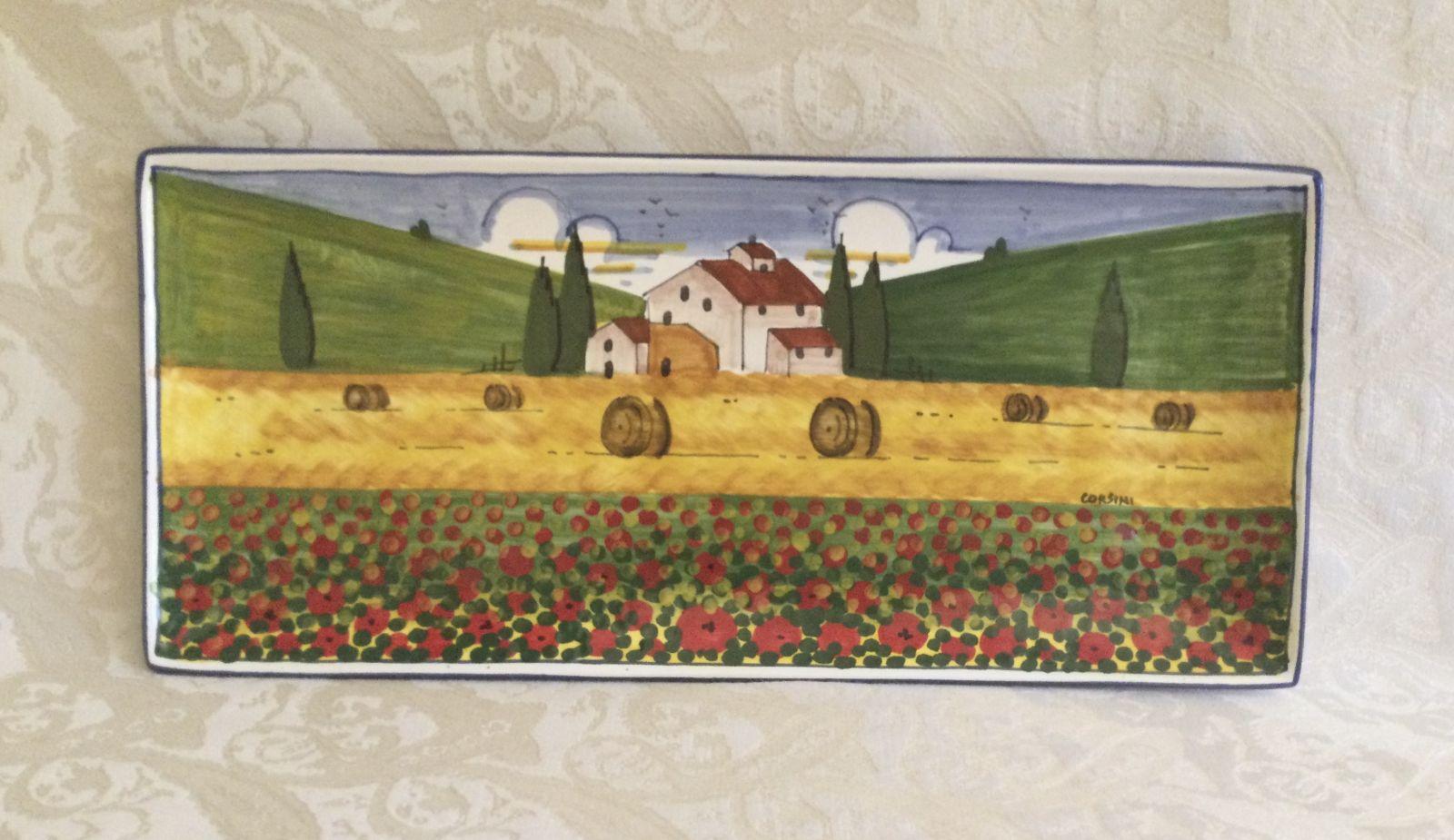 Vassoio rett cm 33x15x2,5 con paesaggio toscano con papaveri