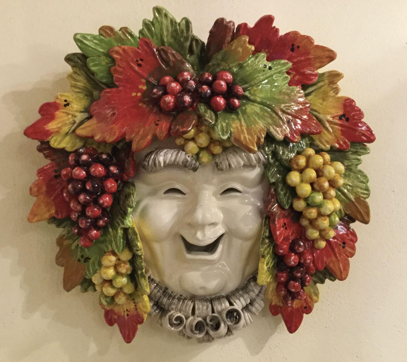 Maschera Bacco sorriso con uva  40x40