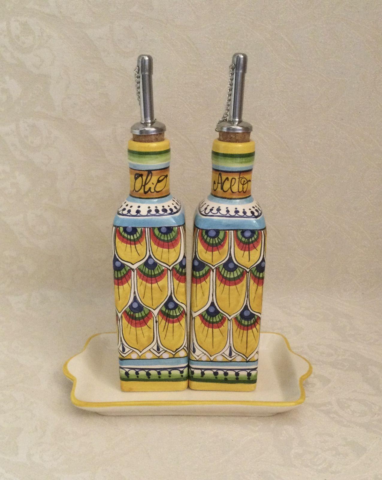 Set olio&aceto quadrato h18 penna di pavone gialla