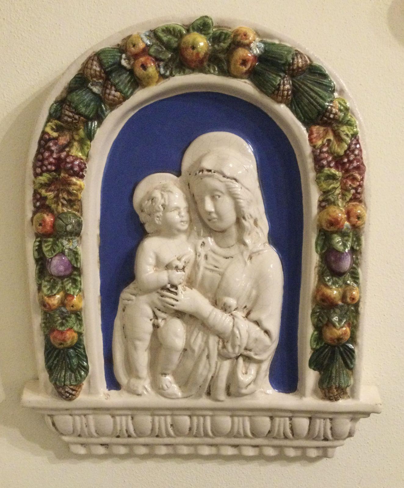 Madonna robbiana con bambino arco h44x36