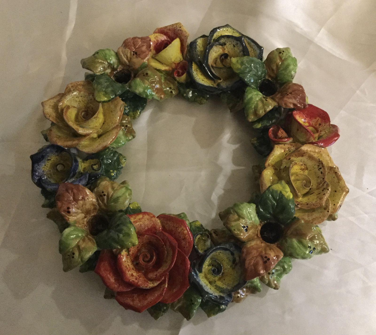 Candeliere tondo 4 fiamme con rose cm 35