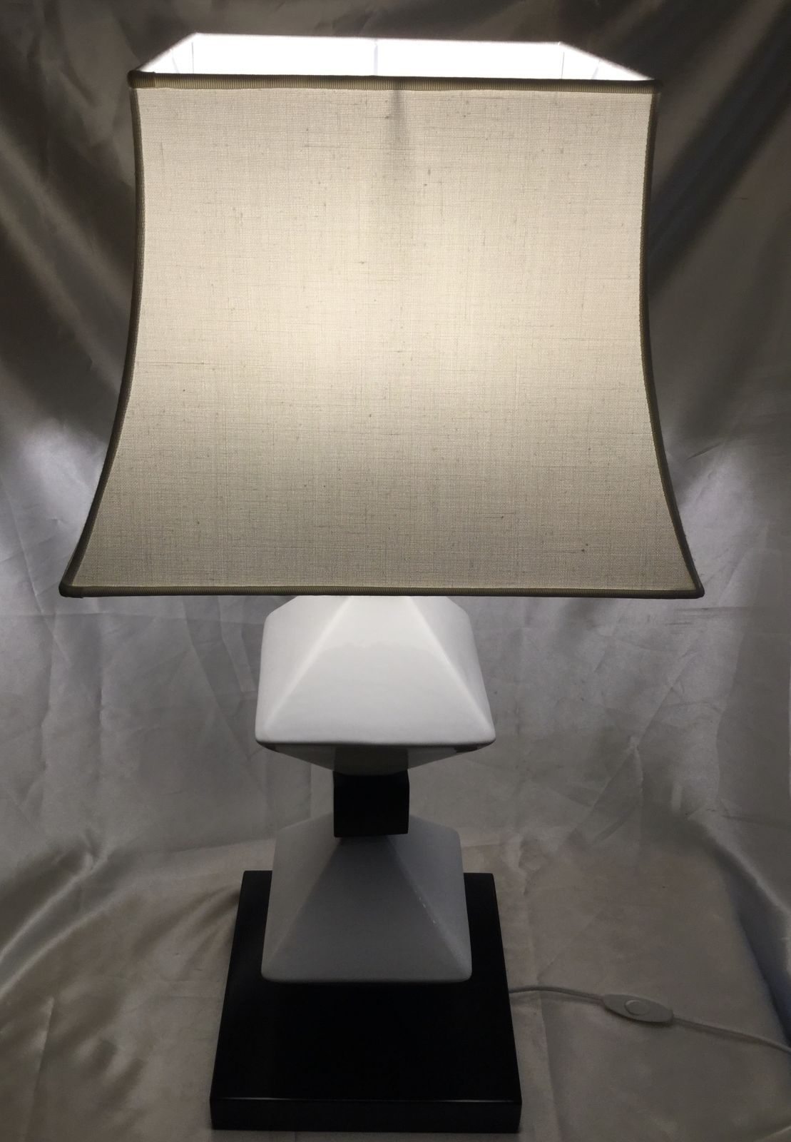 Lampada in legno e ceramica h58 base 25x25