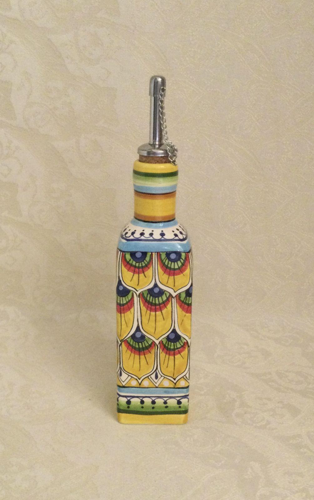 Ampolla quadrata h18 penna di pavone gialla