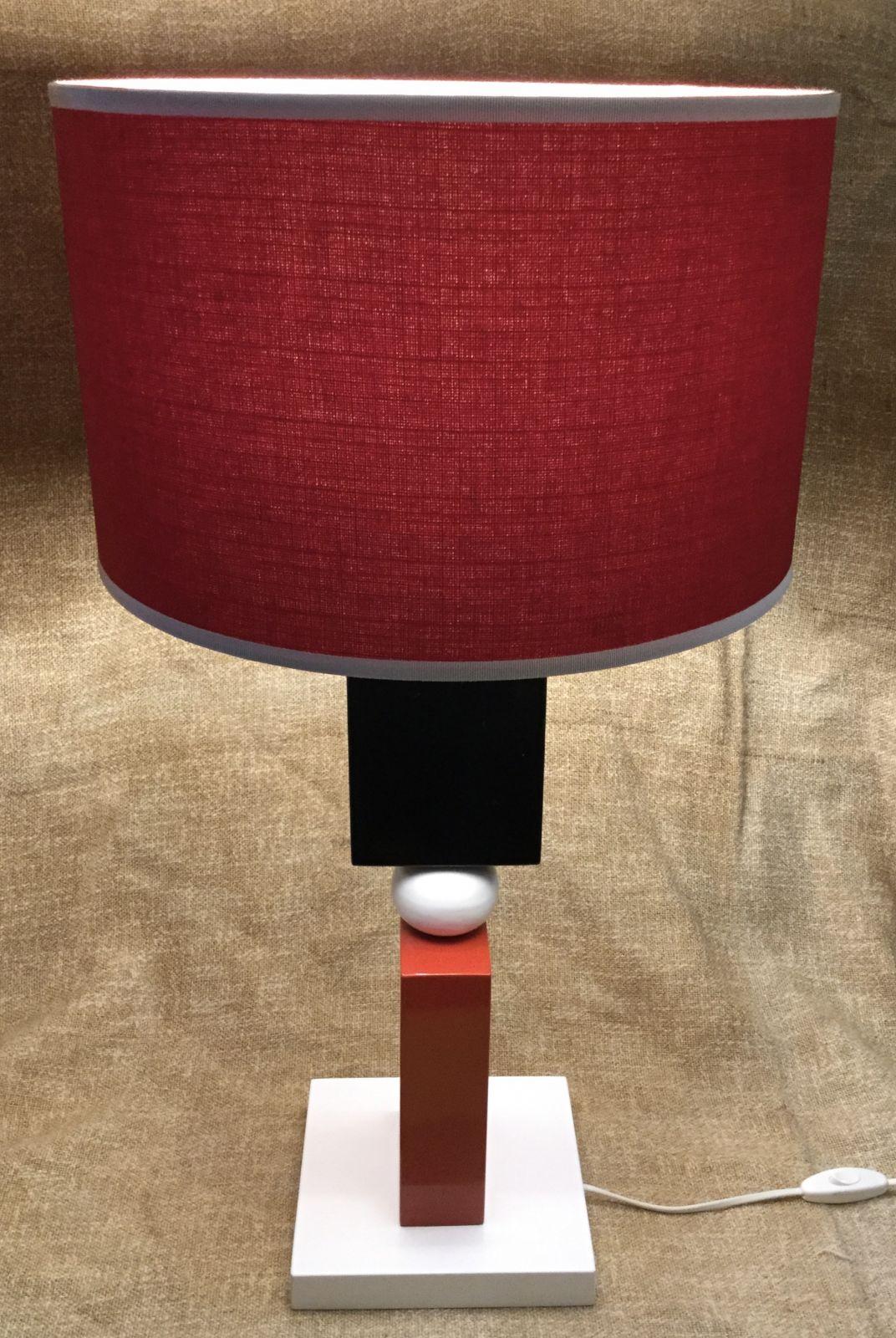 Lampada in legno&ceramica h55 base 20x20
