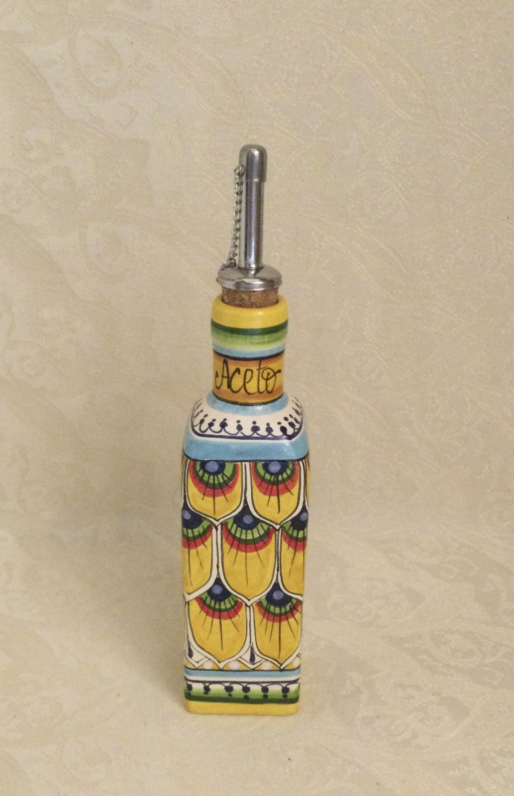 Ampolla quadrata h18 aceto penna di pavone gialla