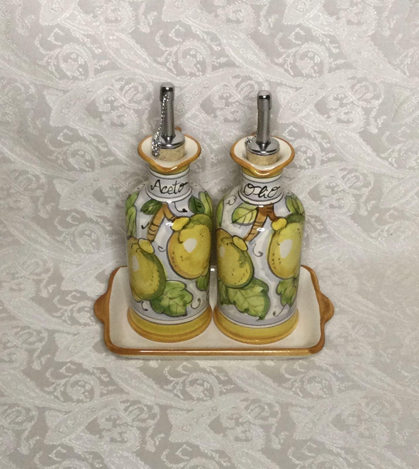 Set ampolle olio&aceto con manico h11 limoni fondo bianco