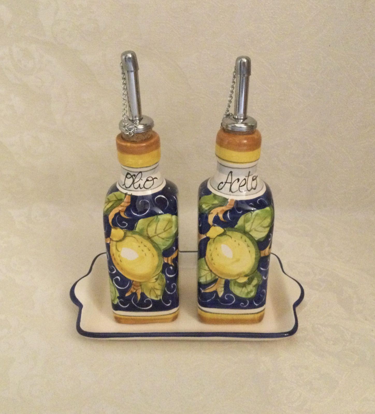 Oil & vinegar set h15 lemons blue background
