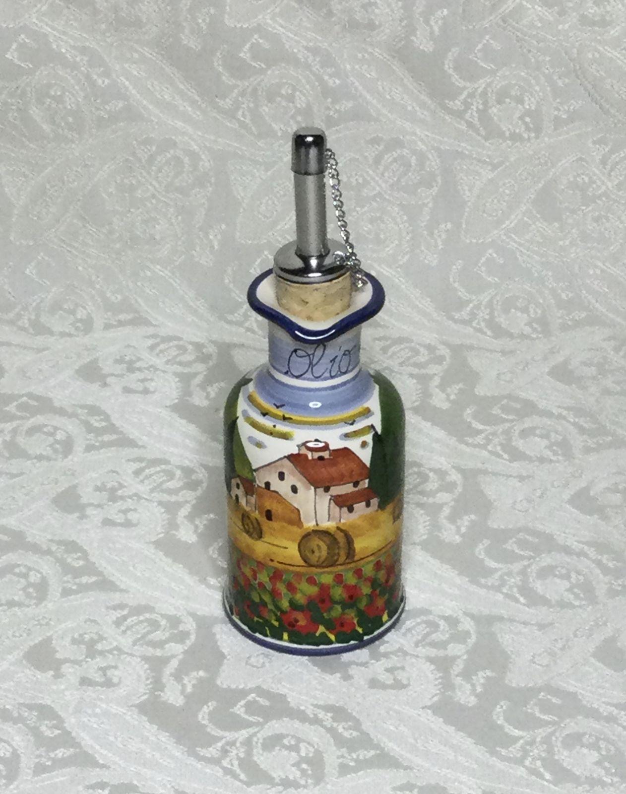 Ampolla olio con manico h11 paesaggio toscano con papaveri bordo blu