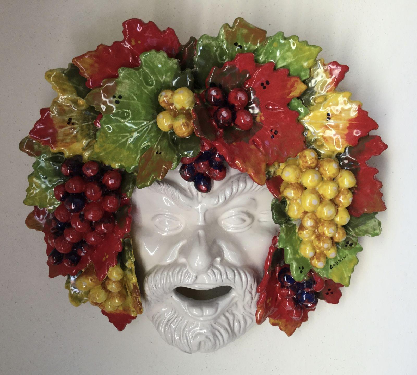 Maschera Bacco con uva 35x35