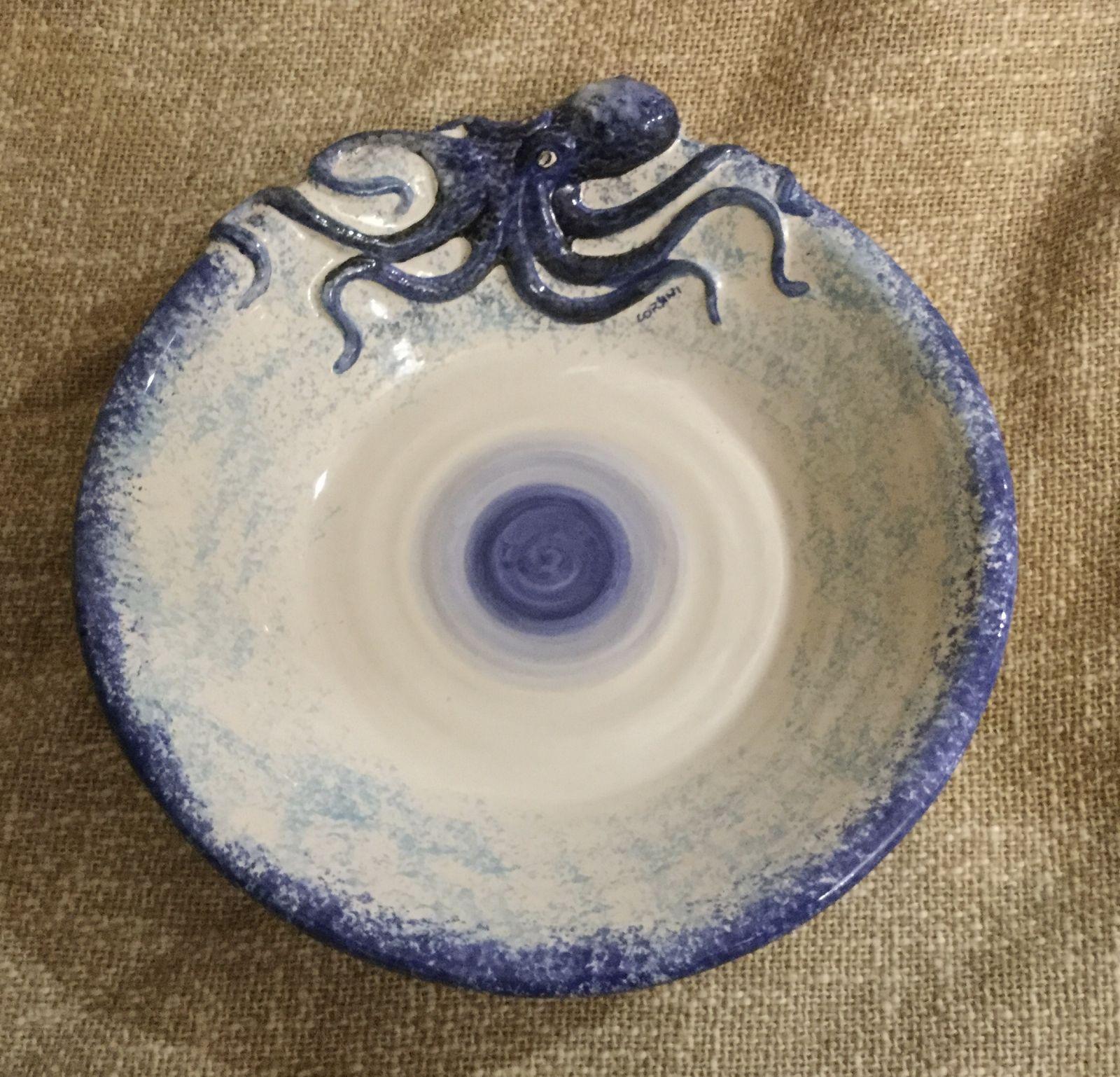 Piatto fondo polpo blu cm 22
