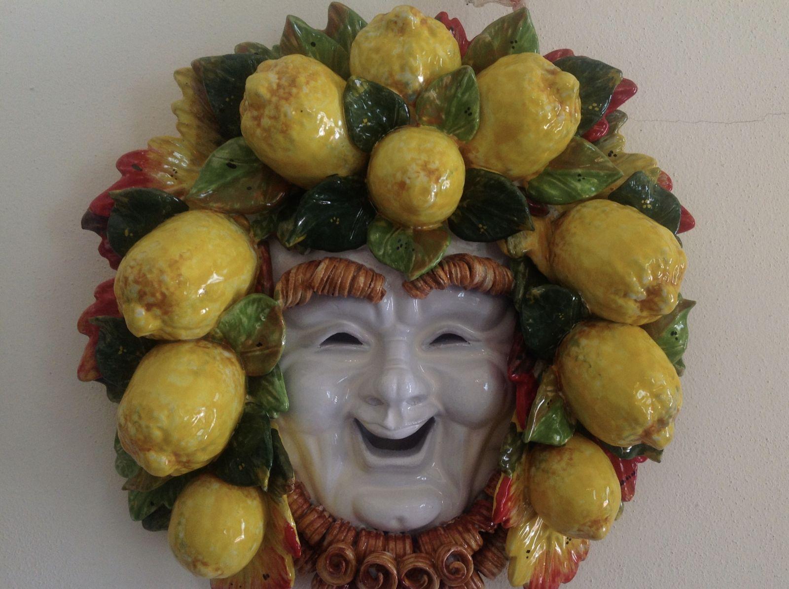 Maschera sorriso con  limoni 40x40