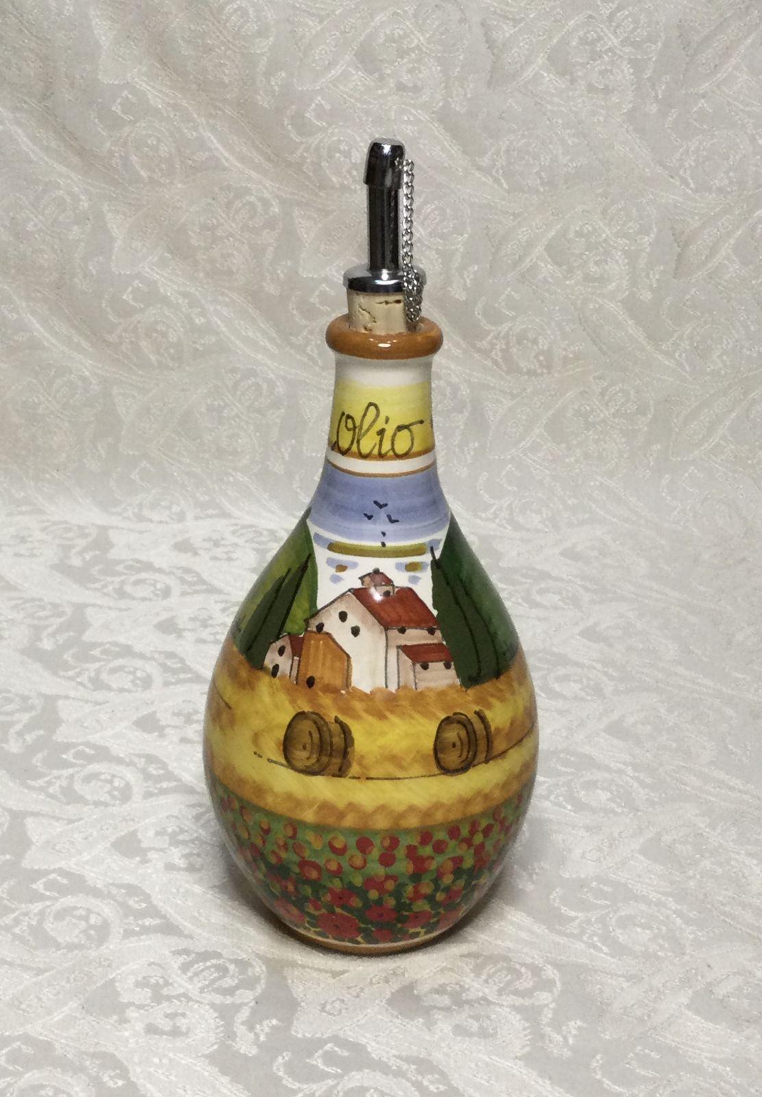 Ampolla olio h18 paesaggio toscano con papaveri bordo arancio