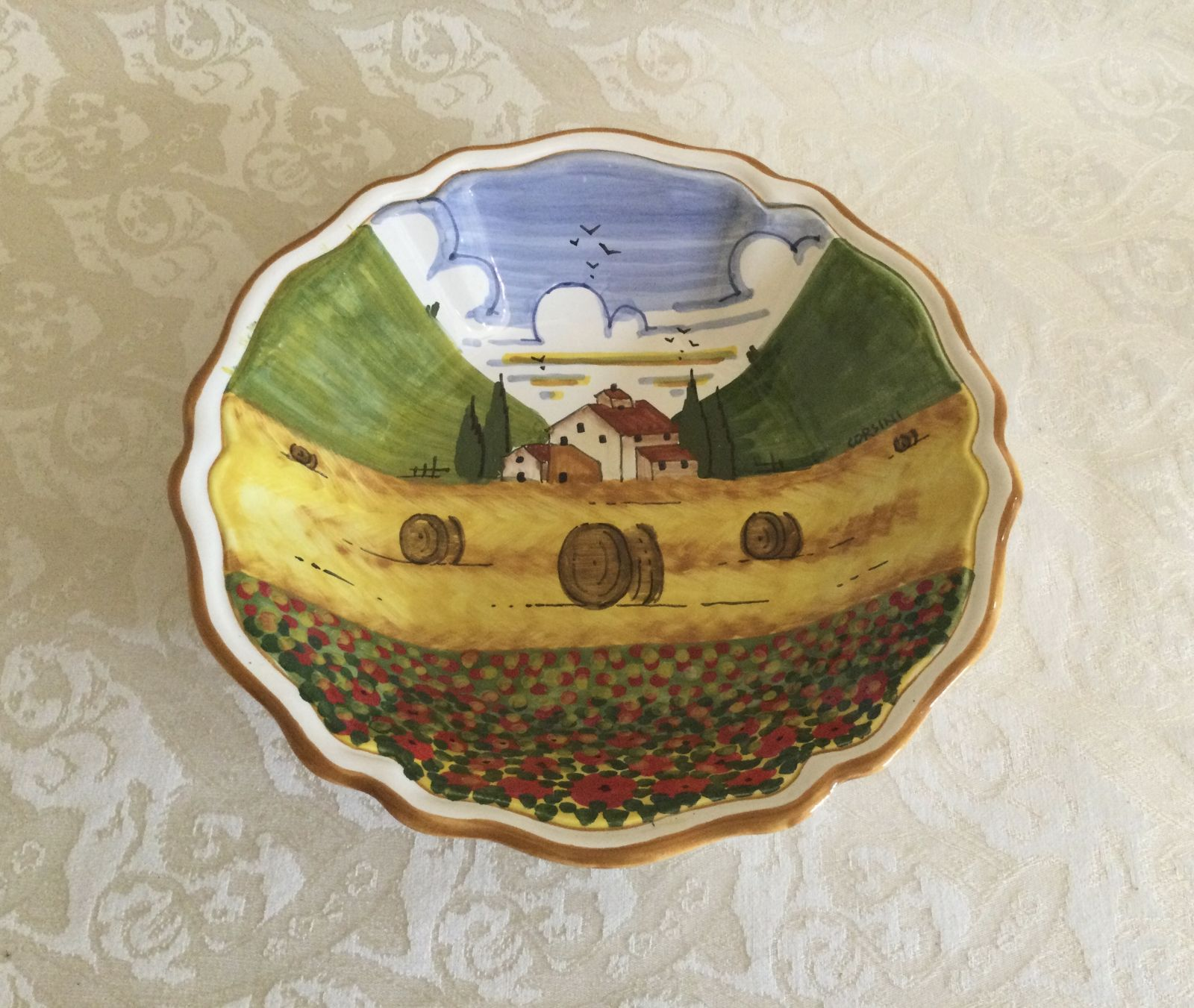 Pasta dish cm 22x5 with tuscan landscape with poppies