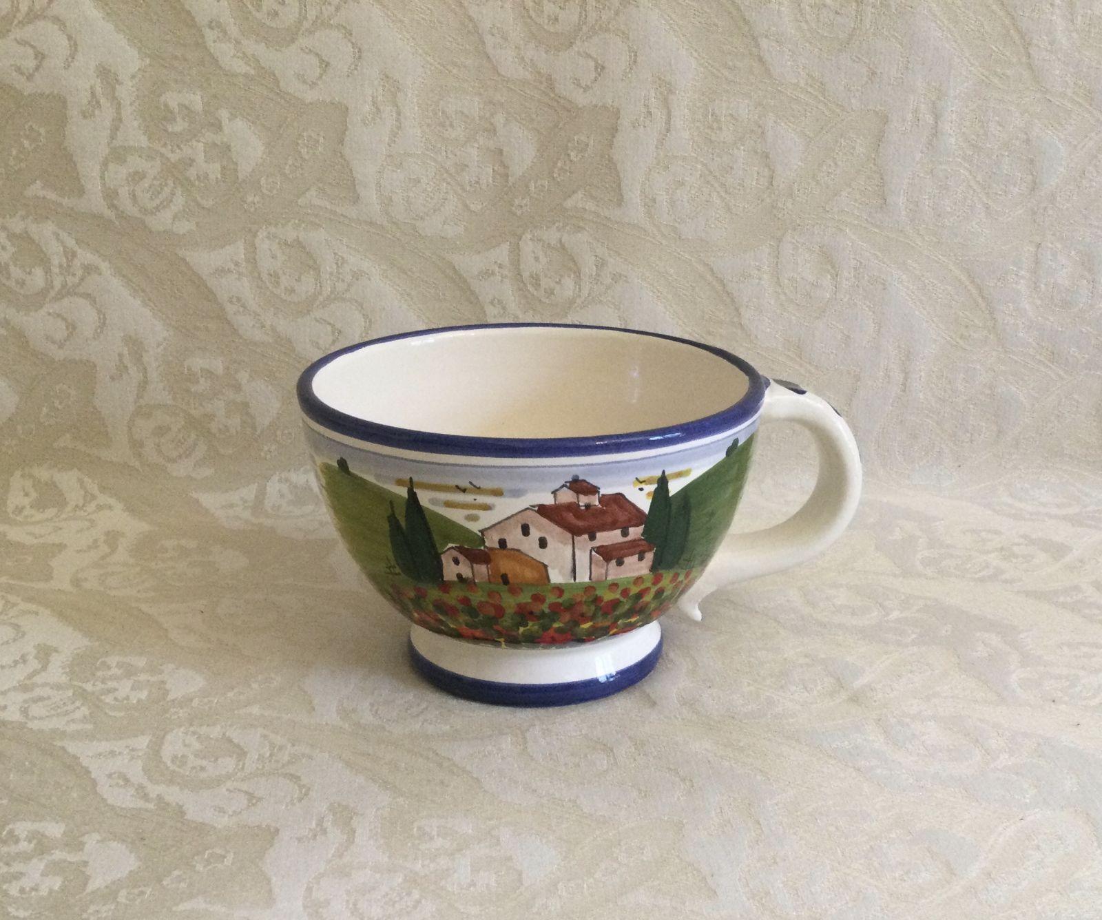 Tazza da colazione cm 15x11xh7,5 con paesaggio toscano con papaveri