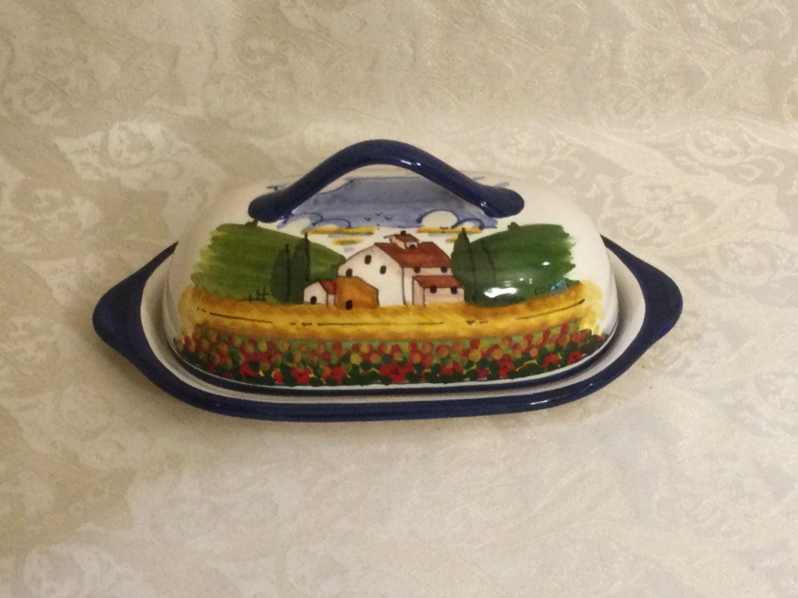 Portaburro ovale cm 22,5x12,5xh9 con paesaggio toscano con papaveri