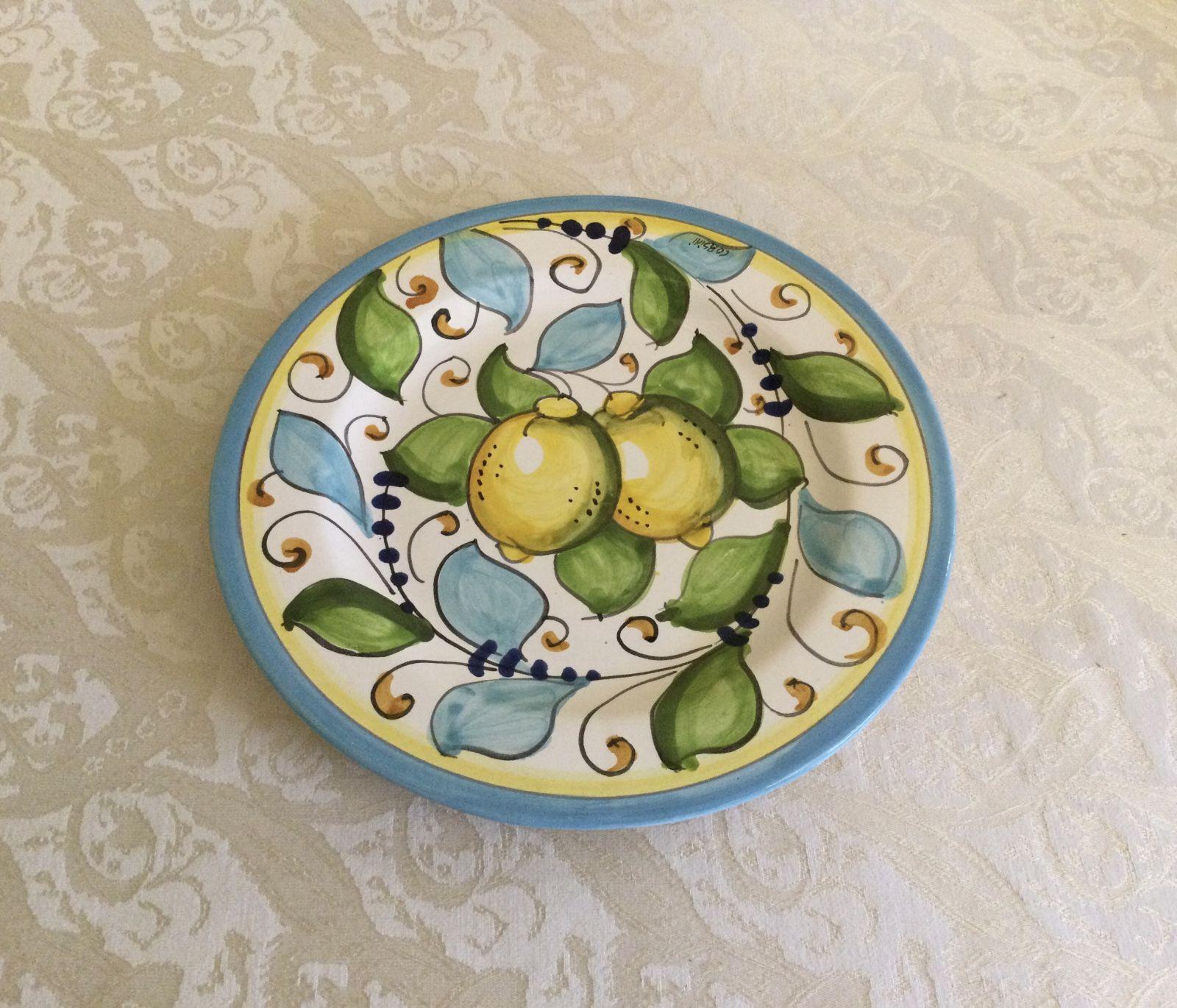 Piatto frutta cm 22 limoni celesti
