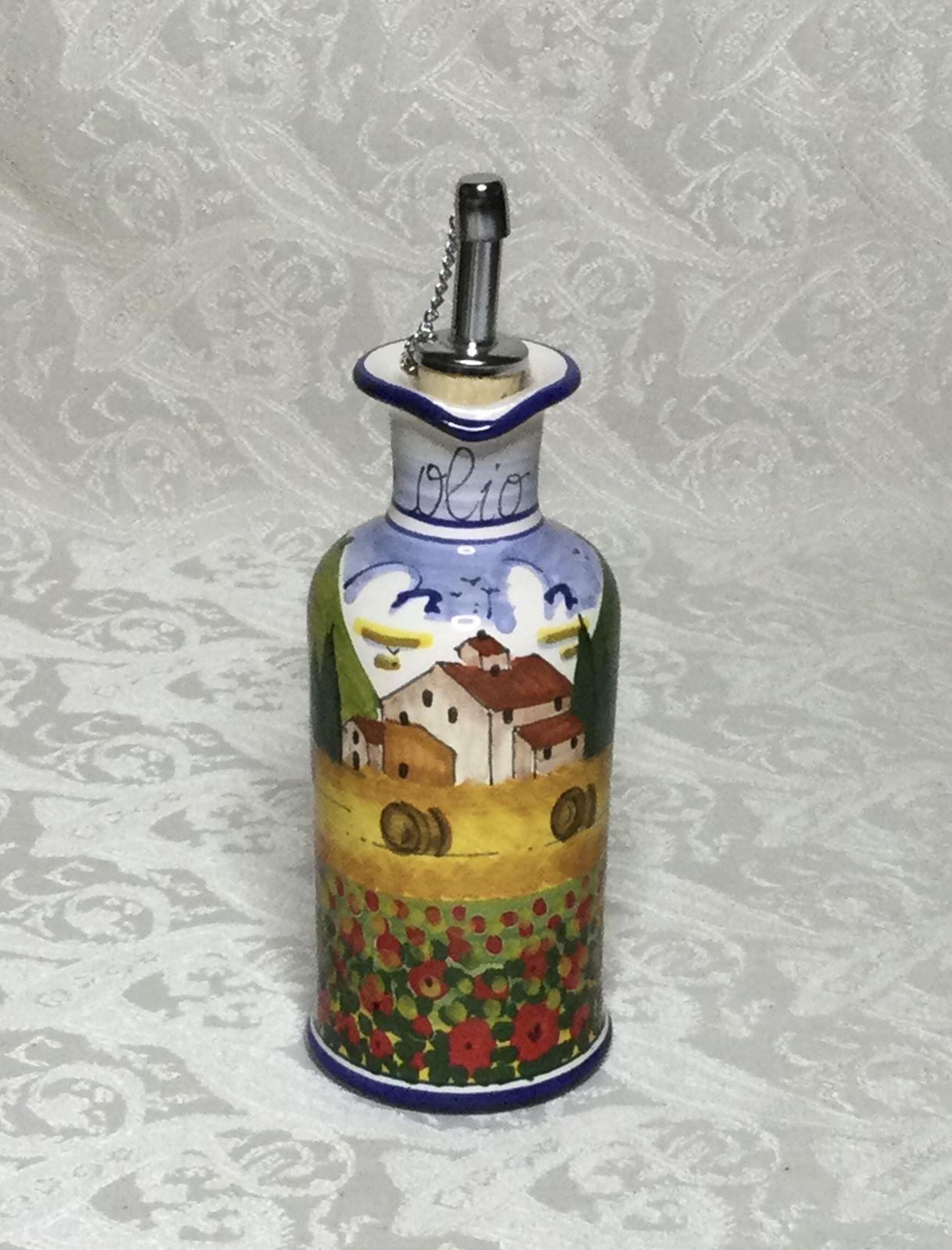 Ampolla olio con manico h22 paesaggio toscano con papaveri bordo blu