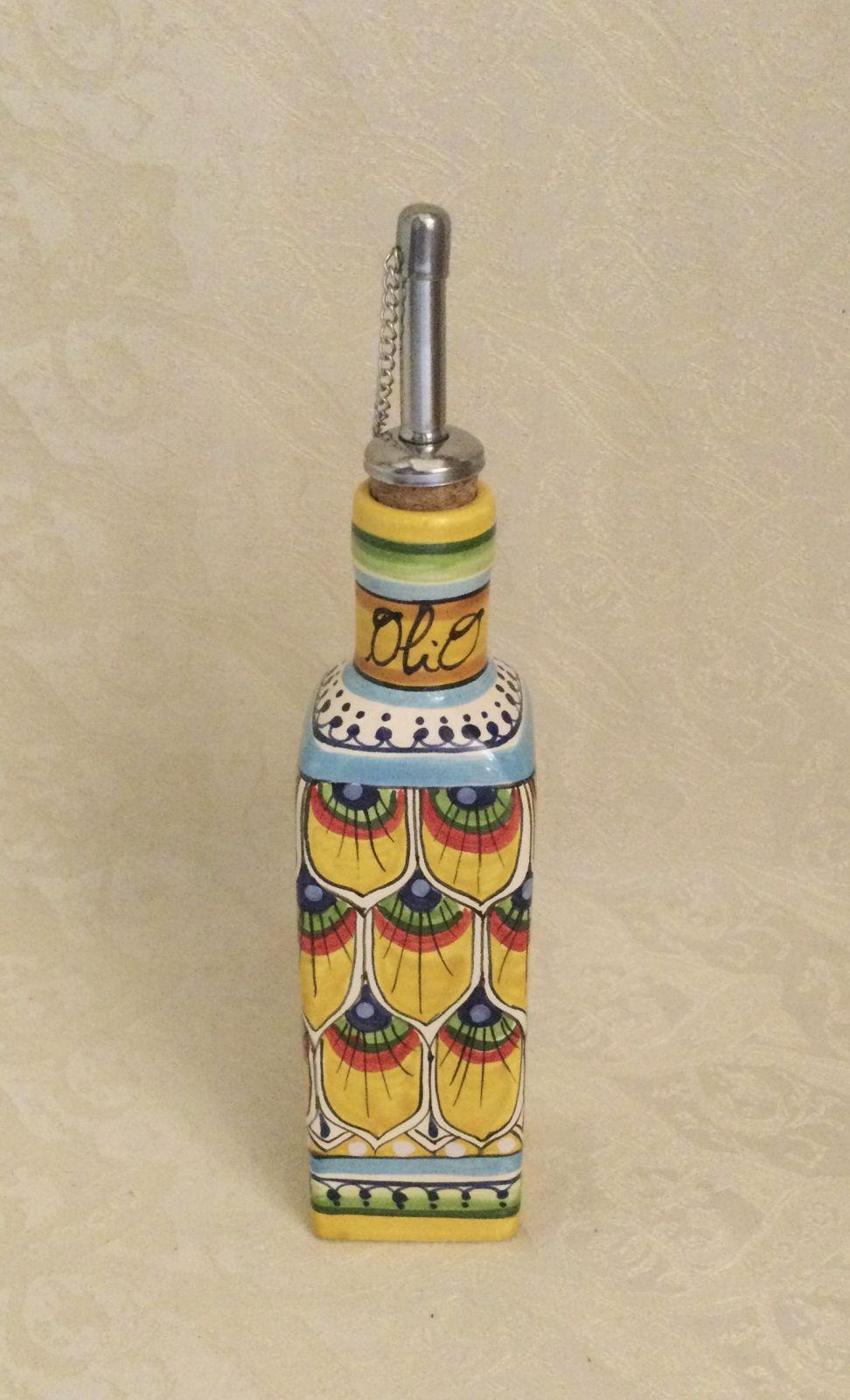 Ampolla quadrata h18 olio penna di pavone gialla