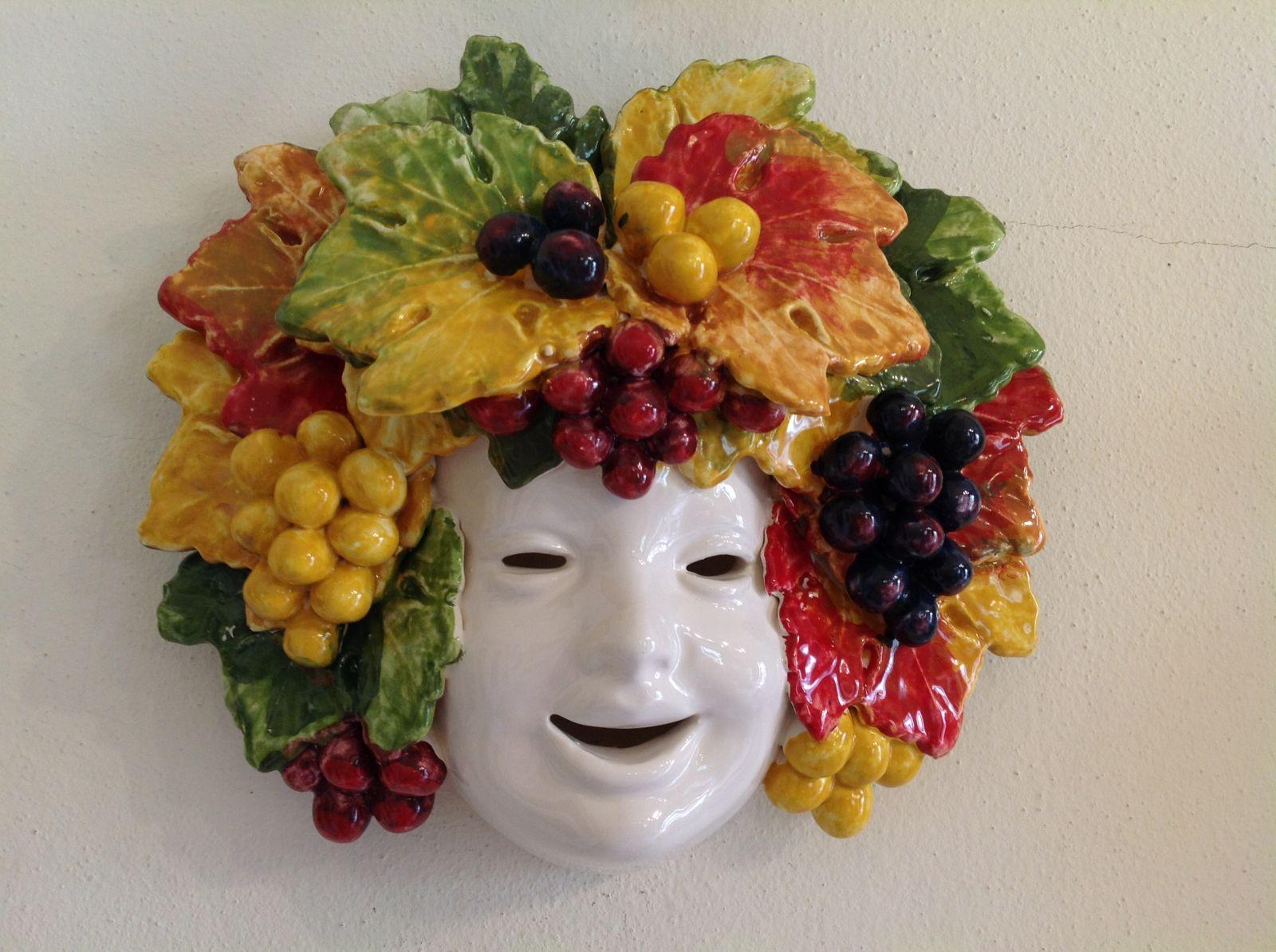 Maschera Bacco con uva 25x25