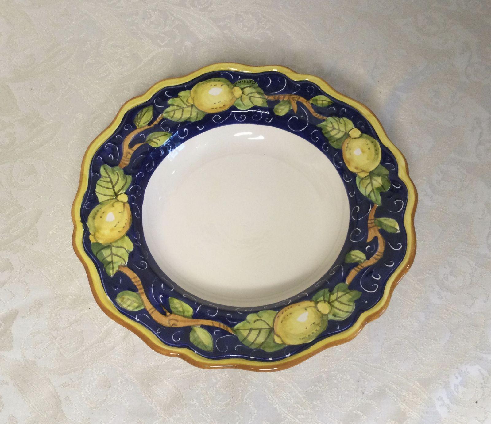 Piatto frutta sim cm 22 con limoni fondo blu